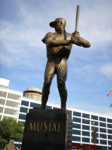This statue in St. Louis is not widely admired because it doesn't accurate depict Musial's unique batting stance.