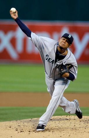 Felix Hernandez threw 109 pitches over seven and two thirds innings to beat the home Athletics 2-0.