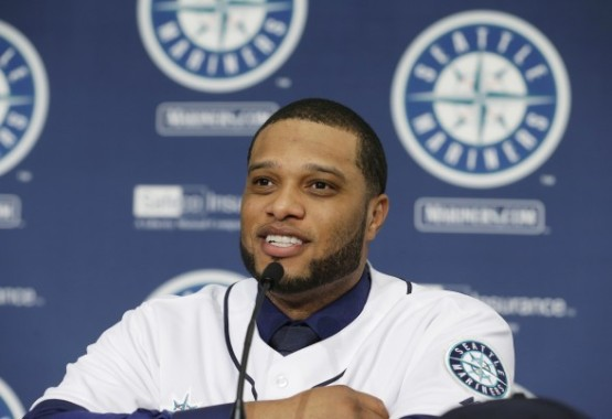 Robinson Cano at his press conference with the Mariners.