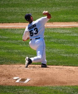Chris Young fires. Young pitched well enough to win the game despite his 3rd inning stumble.