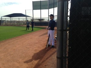 A slimmed down version of Jesus Montero off Ryan Divish's cell phone waits his turn to hit.  One of the interesting storylines of spring training.