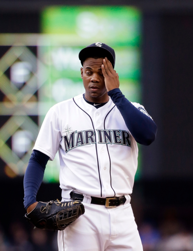 Seattle Mariners starting pitcher Roenis Elias in action against the Cleveland Indians in a baseball game Saturday, May 30, 2015, in Seattle. (AP Photo/Elaine Thompson)