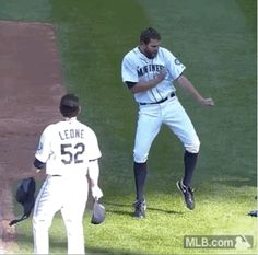 Tom Wilhelmsen in his natural millieu-entertaining the crowd and visiting team, not necessarily throwing a baseball.