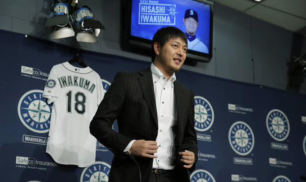 Iwakuma addresses the media