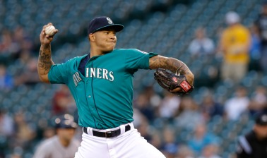 Seattle Mariners starting pitcher Taijuan Walker throws against the Houston Astros in the first inning of a baseball game, Monday, Sept. 9, 2013, in Seattle. (AP Photo/Ted S. Warren) ORG XMIT: OTK